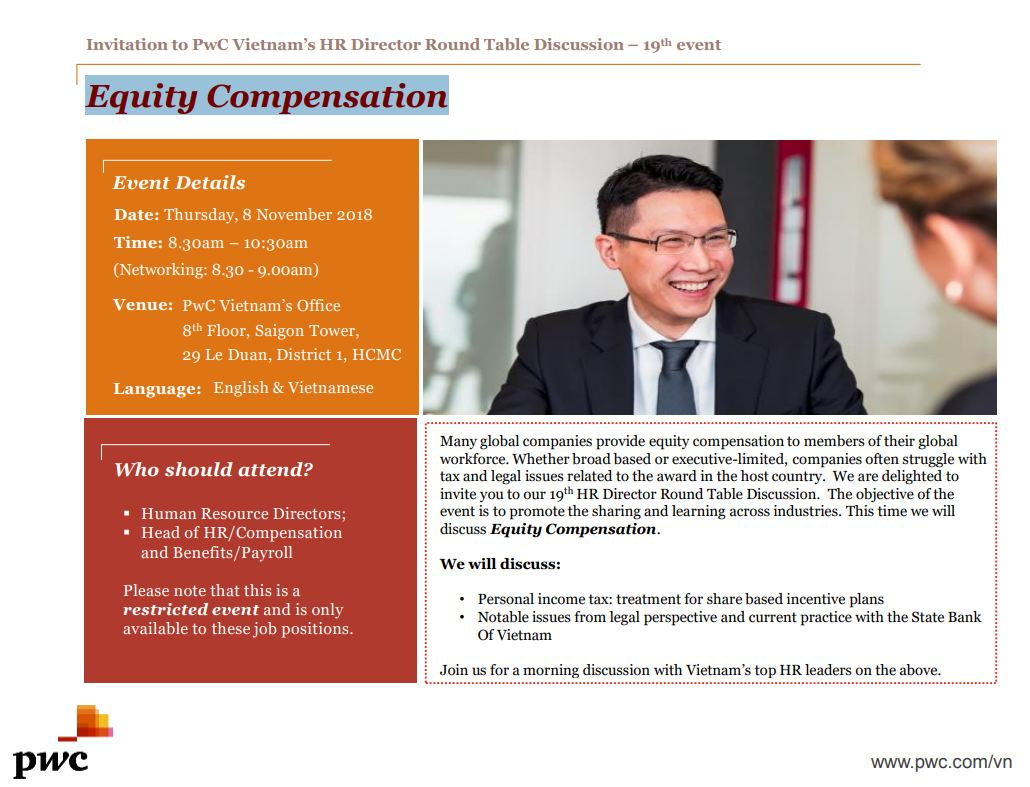 supported event invitation to pwc vietnam s hr director roundtable